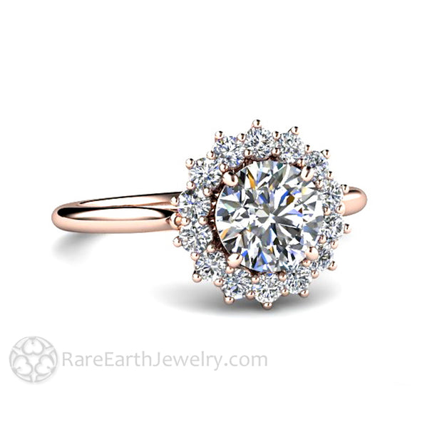 Rare Earth Jewelry Moissanite Ring 1 Carat Round with Diamond Accents Wedding Anniversary or Bridal