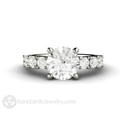 Rare Earth Jewelry Moissanite Wedding Ring Round Cut Forever One 2ct Solitaire with Accented Side Stones