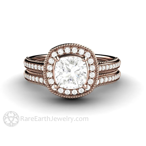 Rare Earth Jewelry Rose Gold Cushion Cut Moissanite Wedding Set 1ct Halo Engagement Ring Diamond Accented Bridal Band