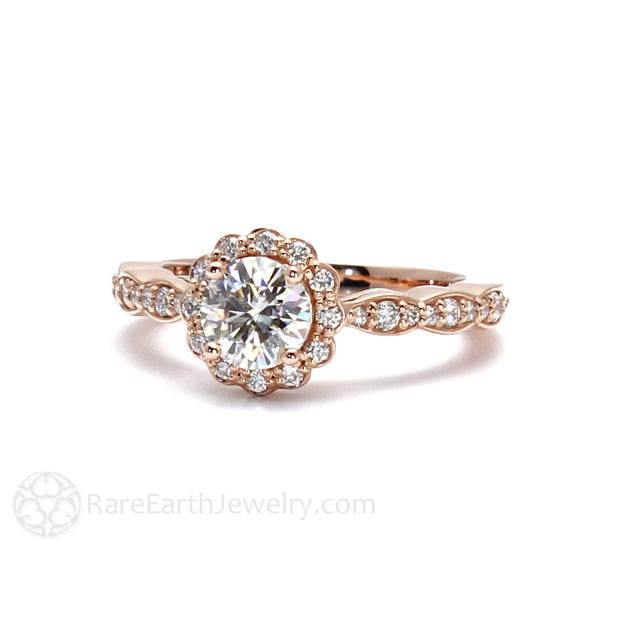 Rare Earth Jewelry Moissanite Wedding Ring Round Diamond Halo and Accent Stones 14K or 18K Gold
