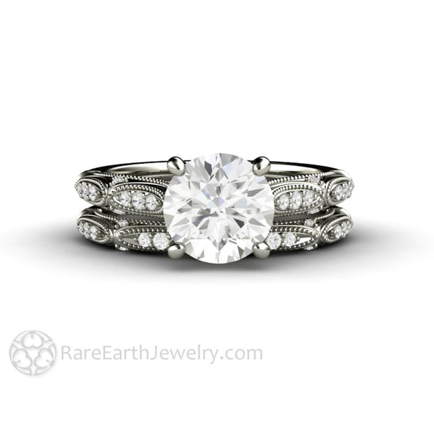 Rare Earth Jewelry Platinum Moissanite Bridal Set Round Cut Solitaire Engagement Diamond Accented Vintage Design