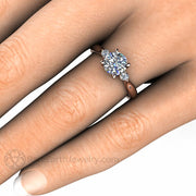 Rare Earth Jewelry Moissanite and Diamond Bridal Wedding Ring Rose Gold Conflict Free Three Stone Setting