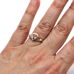 Rare Earth Jewelry 14K Morganite Claddagh Right Hand Ring on Finger Rose Gold