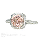 Rare Earth Jewelry Morganite Diamond Halo Engagement Ring