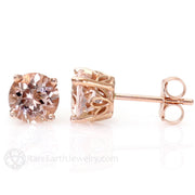Rare Earth Jewelry Morganite Earrings 14K Rose Gold