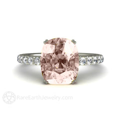 Rare Earth Jewelry Cushion Cut Morganite Engagement Ring 14K White Gold Setting