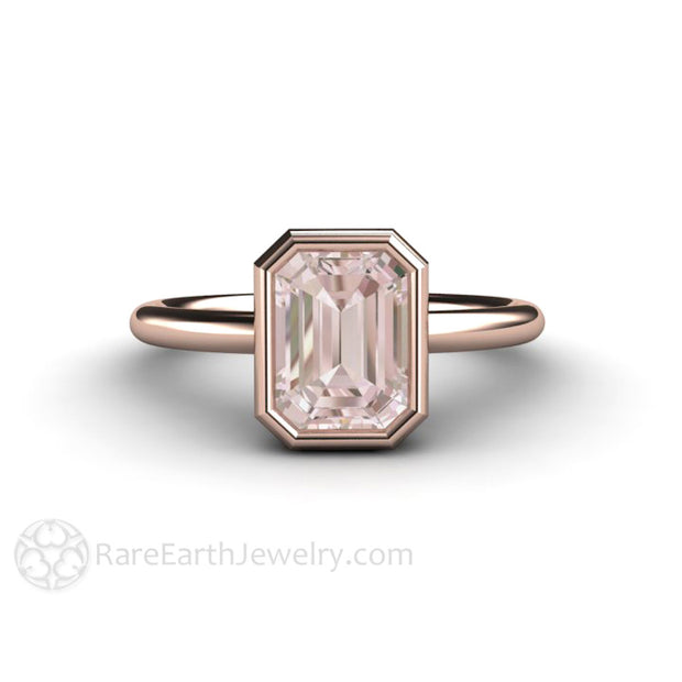 Emerald Cut Morganite Engagement Ring Rare Earth Jewelry