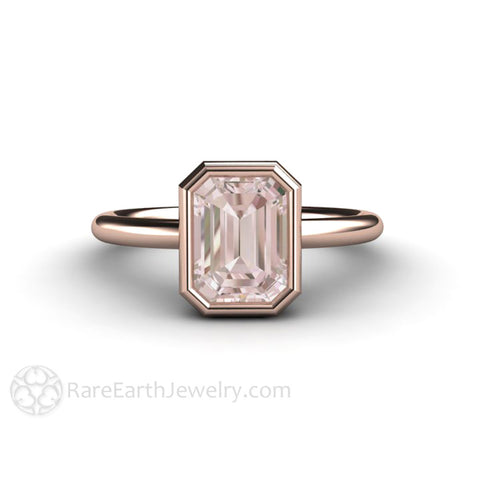 Bezel Morganite Ring Emerald Cut Solitaire Engagement