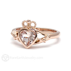 Rare Earth Jewelry Morganite Claddagh Wedding Ring 6mm Heart Bezel 14K