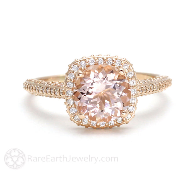18K Rose Gold Morganite Ring with Pave Set Diamonds by Rare Earth Jewelry