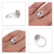 Pink Morganite Diamond Halo Anniversary Ring Rare Earth Jewelry