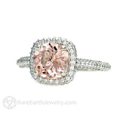 Rare Earth Jewelry Pink Morganite Engagement Ring 14K White Gold Diamond Halo Accent Stones