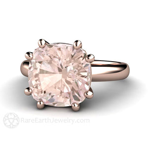 Rare Earth Jewelry Morganite Ring 8 Prong Solitaire Cushion