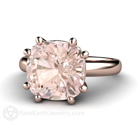 Large Cushion Morganite Ring 8 Prong Solitaire