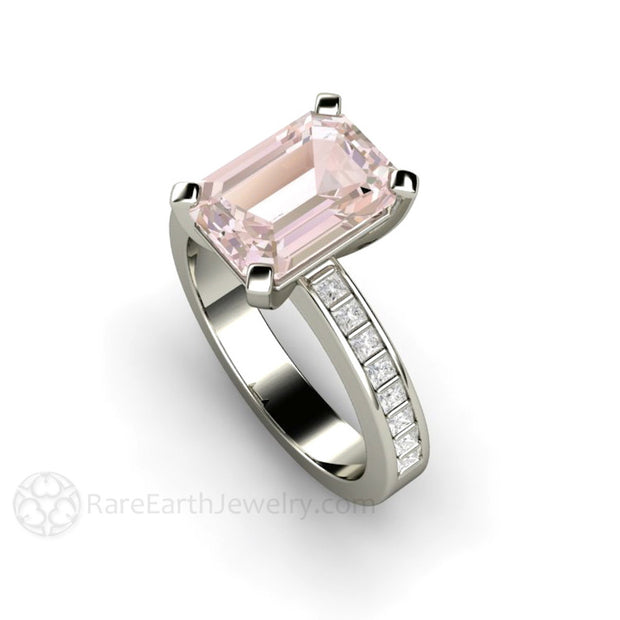 Emerald Cut Morganite Solitaire and Diamond Bridal Ring Rare Earth Jewelry