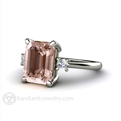 3 Stone Morganite Engagement Ring Emerald Cut with Diamonds