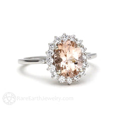 Rare Earth Jewelry Morganite Wedding Ring Oval Cut Peach Stone with Diamonds 14K or 18K Gold