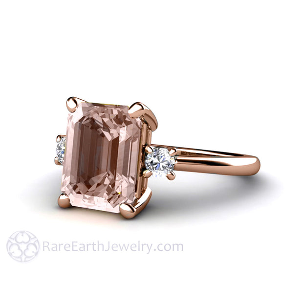 Rare Earth Jewelry Morganite Ring Rose Gold Emerald Cut