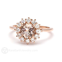 Rare Earth Jewelry Morganite Halo Ring Rose Gold