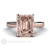 Rare Earth Jewelry Morganite Solitaire Ring 14K or 18K Rose Gold 10x8 Emerald Cut 3 Carat