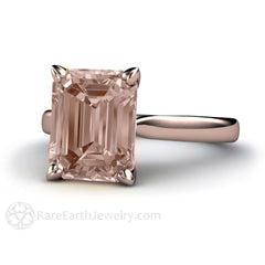 Rare Earth Jewelry Natural Morganite Solitaire Ring Emerald Cut Rose Gold Setting