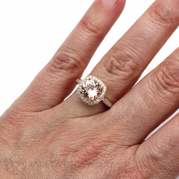 Rare Earth Jewelry Morganite Right Hand Ring on Finger Ring 2ct Round Cut with Diamonds Rose Gold Setting