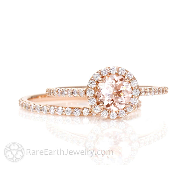 Rare Earth Jewelry Morganite Wedding Ring Set Rose Gold Petite Thin Bridal Band