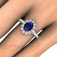 Rare Earth Jewelry Blue Sapphire Wedding Ring Oval Pave Diamond Halo 14K or 18K Gold