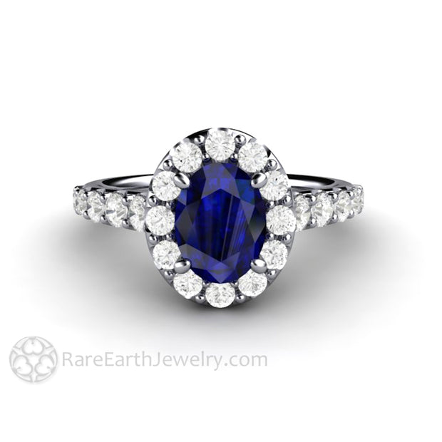 Rare Earth Jewelry Oval Blue Sapphire Bridal Ring Diamond Halo Accent Stones Platinum Setting