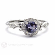 Rare Earth Jewelry Art Deco Engagement or Anniversary Ring Purple Sapphire Diamond Halo