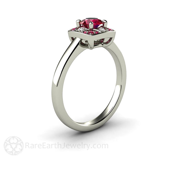 Rare Earth Jewelry Ruby Anniversary or Right Hand Ring 14K White Round Cut Vintage Design