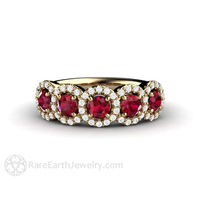 Rare Earth Jewelry Ruby Anniversary Band Round Cut Diamond Halo 5 Stone 14K Gold