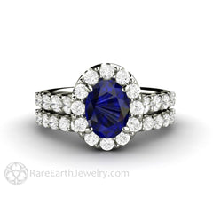 Rare Earth Jewelry Sapphire Wedding Set Oval Cut Halo Engagement 14K or 18K Gold