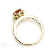 Rare Earth Jewelry Diamond Halo Citrine Ring 14K Yellow Gold