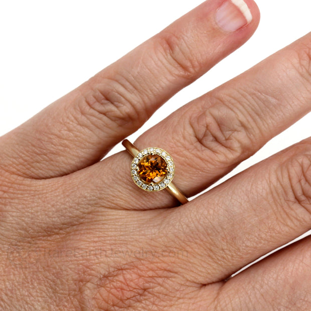 Rare Earth Jewelry Citrine Right Hand Ring on Finger Natural Orange Gemstone with Diamond Halo 14K or 18K