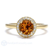 Rare Earth Jewelry Orange Citrine Ring Round Cut Diamond Halo Gold Setting Natural Gemstones