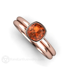 Rare Earth Jewelry Rose Gold Orange Sapphire Wedding Ring Set Cushion Cut