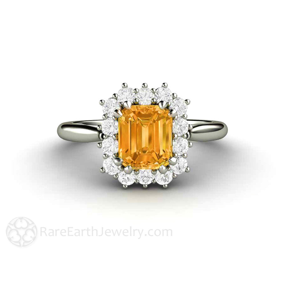 Rare Earth Jewelry Vintage Orange Yellow Sapphire Cluster Ring