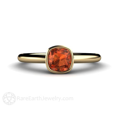 Natural Orange Sapphire Ring Bezel Set Solitaire Engagement Ring Minimalist Style in Yellow Gold by Rare Earth Jewelry