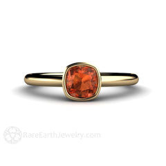 Rare Earth Jewelry Natural Orange Sapphire Solitaire Ring Cushion Cut