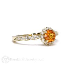 Orange Sapphire Halo Ring Rare Earth Jewelry