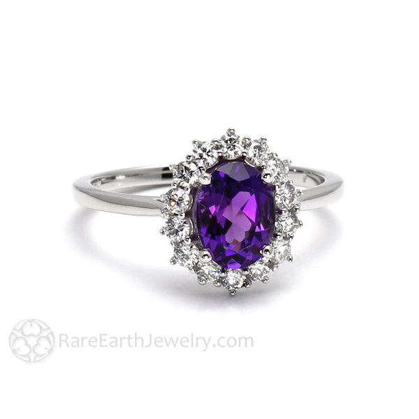 Oval Cut Amethyst Ring With A Cluster Diamond Halo 14k Or