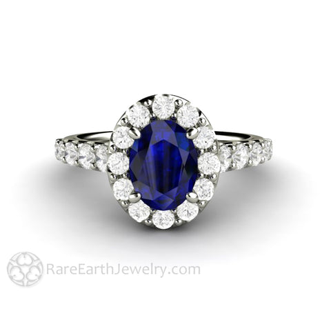 Pave Blue Sapphire Engagement Ring Oval Diamond Halo