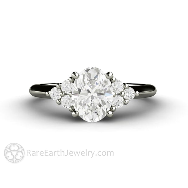 Rare Earth Jewelry Oval Charles & Colvard Forever One Moissanite Engagement Ring Cluster 14K White Gold Setting