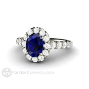Rare Earth Jewelry Oval Cut Blue Sapphire Engagement Ring Pave Diamond Halo 14K Gold