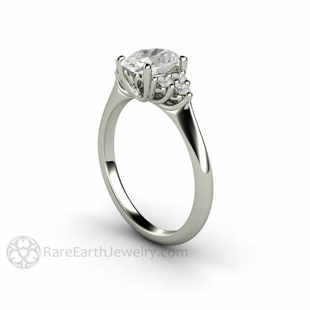 Rare Earth Jewelry Oval Cut Moissanite and Diamond Ring Cluster Vintage Style White Gold Setting