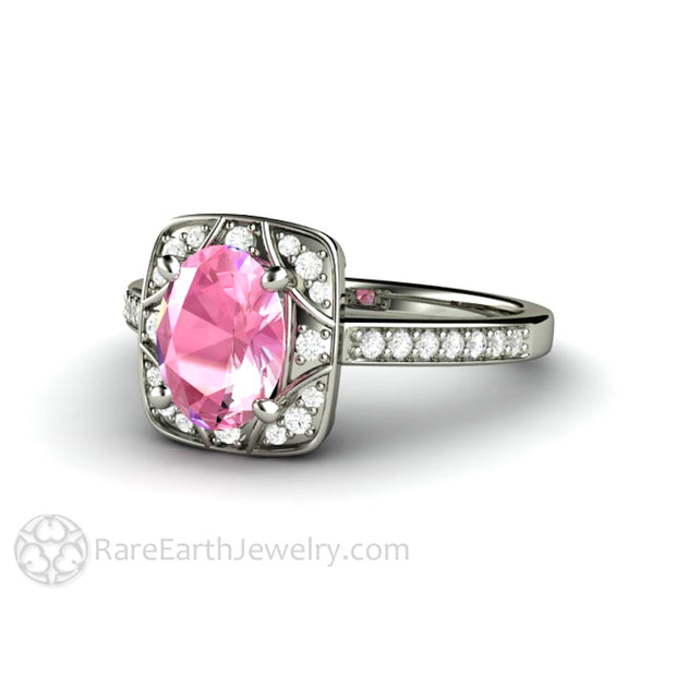 Rare Earth Jewelry Oval Cut Pink Sapphire Wedding Ring 1.75 Carat with Diamonds White Gold Setting