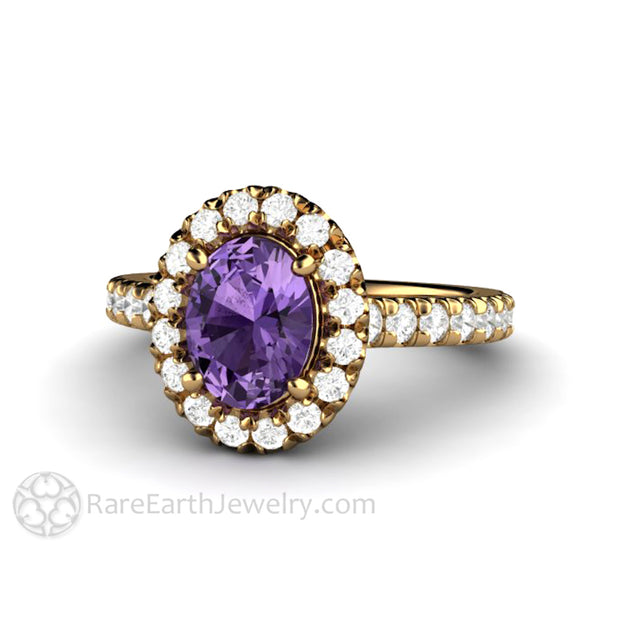 Rare Earth Jewelry Oval Cut Purple Sapphire Halo Ring 18K Yellow Gold Setting