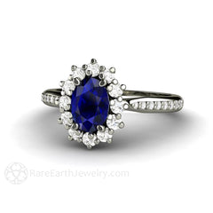 Rare Earth Jewelry Blue Sapphire Anniversary Ring Oval Cut