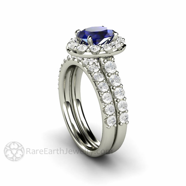 Rare Earth Jewelry Oval Cut Sapphire Wedding Ring Set Natural Diamond Gemstone Halo